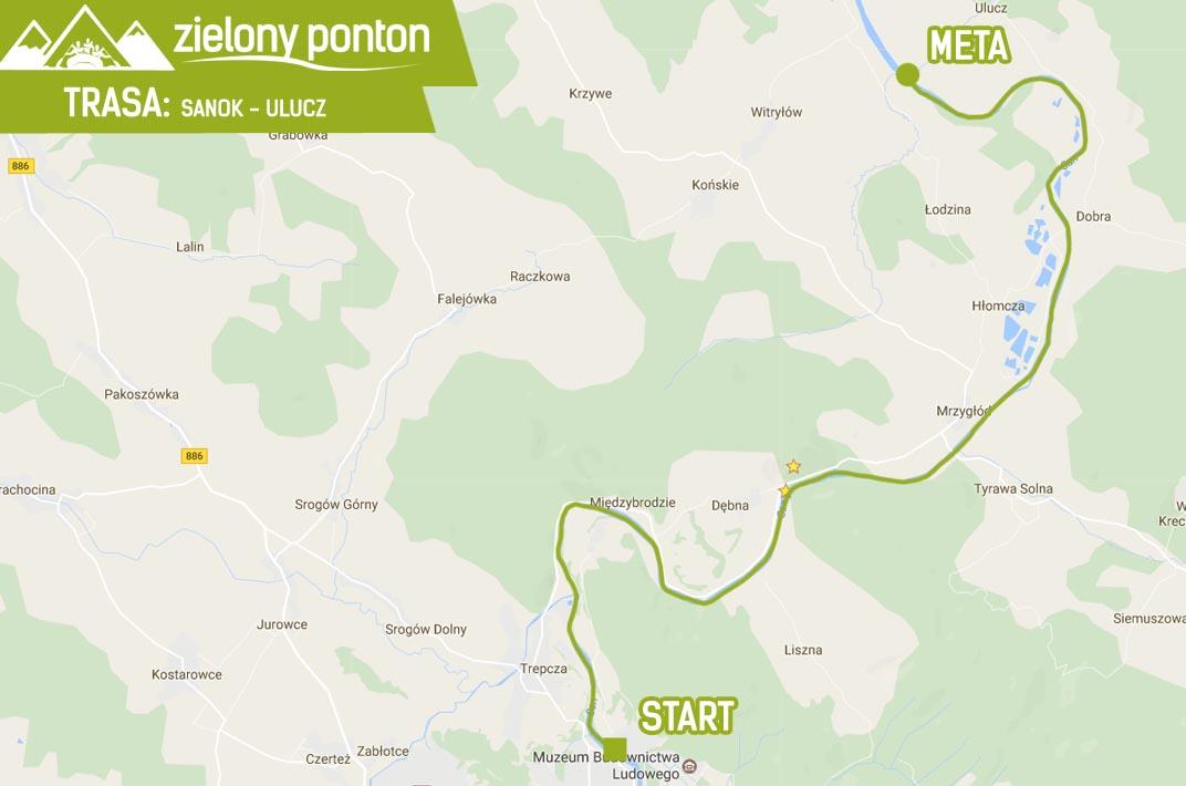 zielony-ponton-trasa-sanok-ulucz